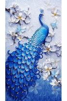 Mobicus 5D DIY Diamond Painting,by Number Kits Crafts & Sewing Cross Stitch,Wall Stickers for Living Room Decoration,The Peacock(57X40CM/22X16inch)