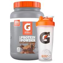 Gatorade Whey Protein Powder + Blender Bottle, Chocolate, 56 oz Canister (50 servings per canister, 20 grams of protein per serving)