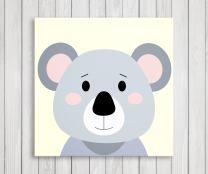 "Cute Little Animals, Nursery Canvas Print Wall Decor, Baby Kid Room Canvas Art Print, Safari Animals Poster Wall Art Print, Great Baby Shower Gift Set Idea - Ready to Hang (11""W x 11""H, Koala)"