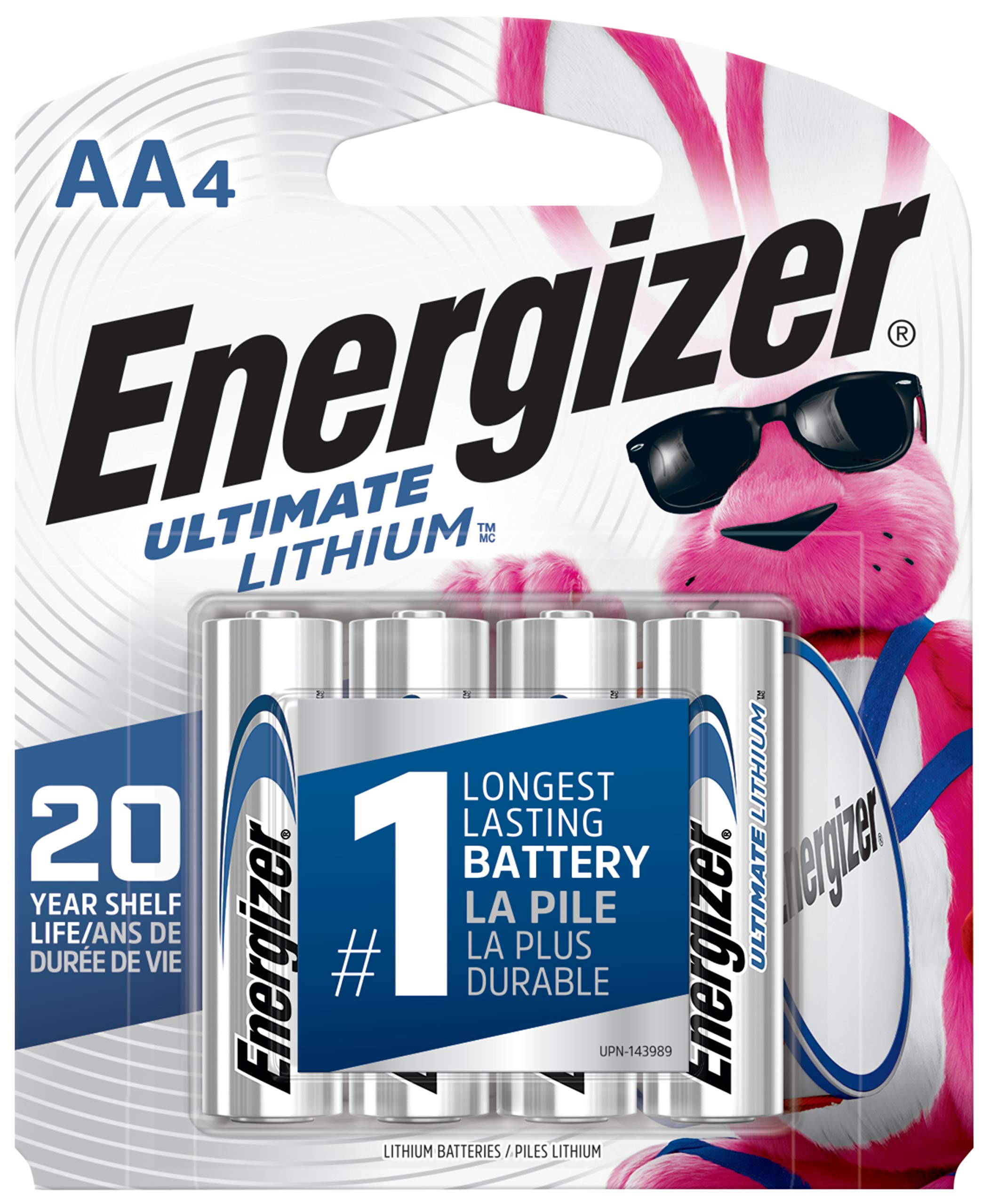 Energizer Ultimate Lithium AA Batteries, World's Longest Lasting Battery for High-Tech Devices (4 Each), Black (EVEL91BP4)