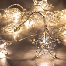 ITART Stainless Steel Star String Lights Christmas Decoration Fairy String Lights Battery Operated 10 LEDs Christmas Décor Indoor Outdoor Home Garden Festival Wedding Party Starry Lighting