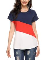 ELESOL Women's Short Sleeve Round Neck Loose Shirt Printed Raglan Baseball Top