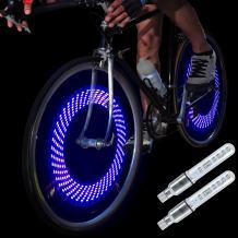 DAWAY A08 Bike Tire Valve Stem Light - LED Waterproof Bicycle Wheel Lights Neon Flashing Lamp Glow in The Dark Cool Safe Accessories, 1 Pack/ 2 Pack