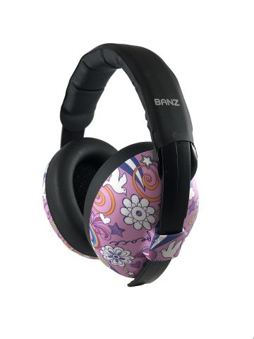 BANZ Earmuffs Infant Hearing Protection – Ages 0-2 Years – The Best Earmuffs for Babies & Toddlers – Industry Leading Noise Reduction Rating – Block Noise (Pink Doodle)