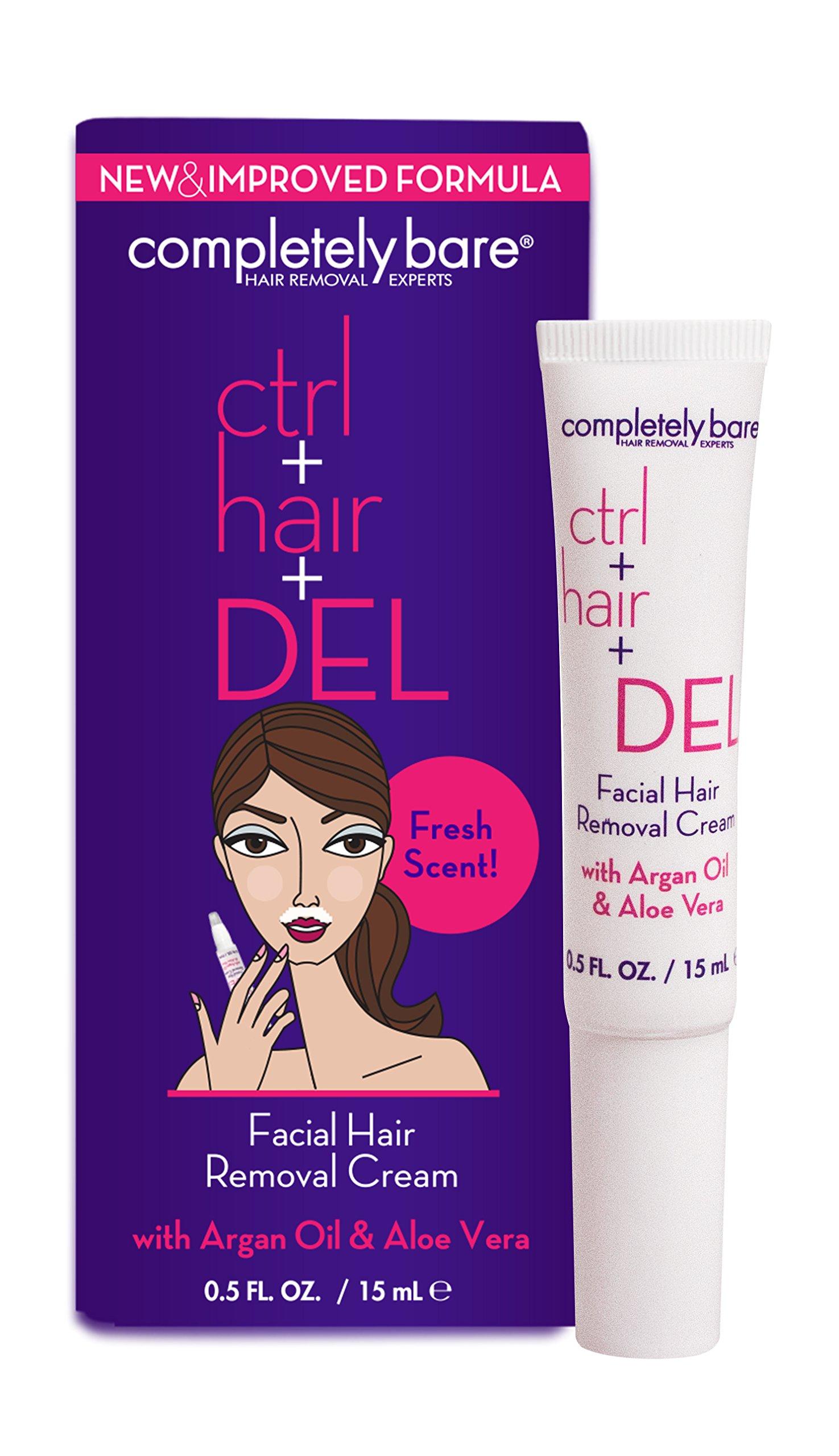 Completely Bare Ctrl + Hair + DEL Facial Hair Removal Cream - All Natural Ingredients, Argan Oil & Aloe Vera, Mositurizing Extract Depilatory Cream, Cruelty-Free & Paraben-Free, Vegan Formula.5 oz