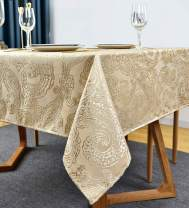 "Jacquard Tablecloth Leaf Design Polyester Table Cloth Spillproof Shrinkproof Wrinkle Resistant Heavy Weight Table Cover for Kitchen Dinning Tabletop(Rectangle/Oblong, 60"" x 120"" (10-12 Seats),Flax)"