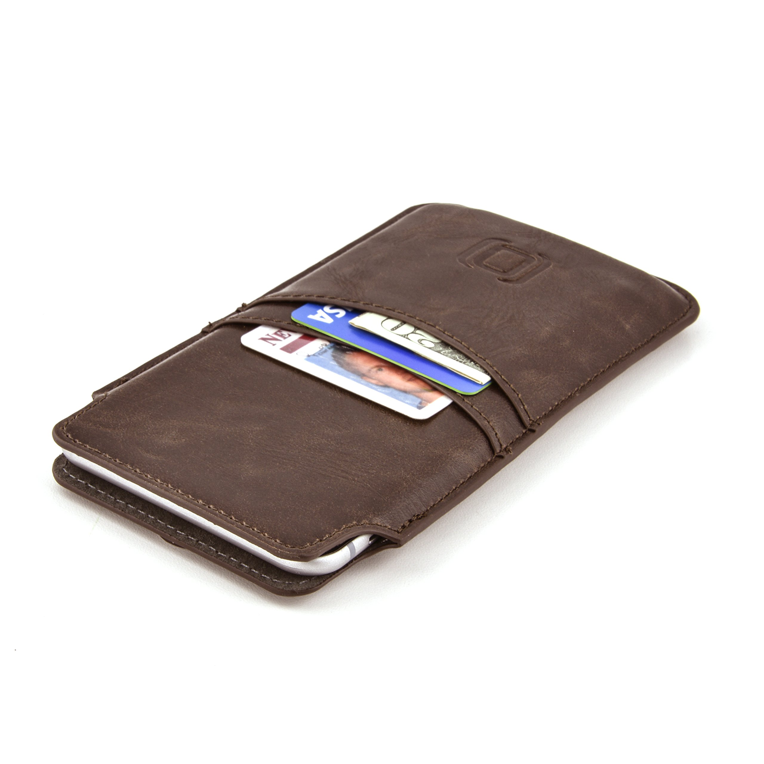 Dockem Provincial Wallet Sleeve for iPhone SE 2020, 8, 7, 6S and 6 - Vintage Synthetic Leather Card Case: Ultra Slim Professional Executive Pouch Cover with 2 Card Holder Slots, Brown