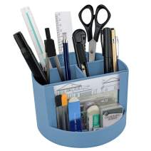 Acrimet Plastic Desktop Organizer - Mix Organizer Caddy Photo Holder - Office Supplies Storage and Home Organization (Pen Pencil Clip Holder) (Solid Blue Color)