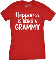 Womens Happiness is Being a Grammy Funny T Shirt Gift Grandmother for Grandma