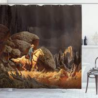 """Ambesonne Western Shower Curtain, Rock Mountain Landscape with Cowboy Riding Horse NorthmericStyle, Cloth Fabric Bathroom Decor Set with Hooks, 84"""" Long Extra, Earth Yellow"""