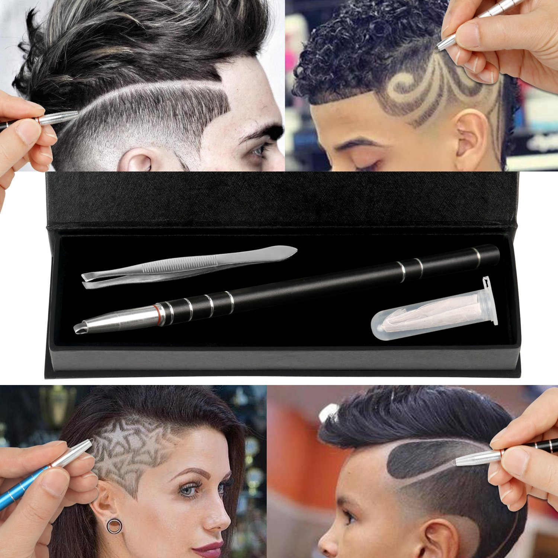 Hair Engraving, MagiForet Hair Tattoo Pen, Hair Razor Pen, Hair Tatoo Trim Styling Face Eyebrow Shaping Device, Hair Engraving Shaver Pen + 10 Blades + Tweezers for Men Women Teens (Black)