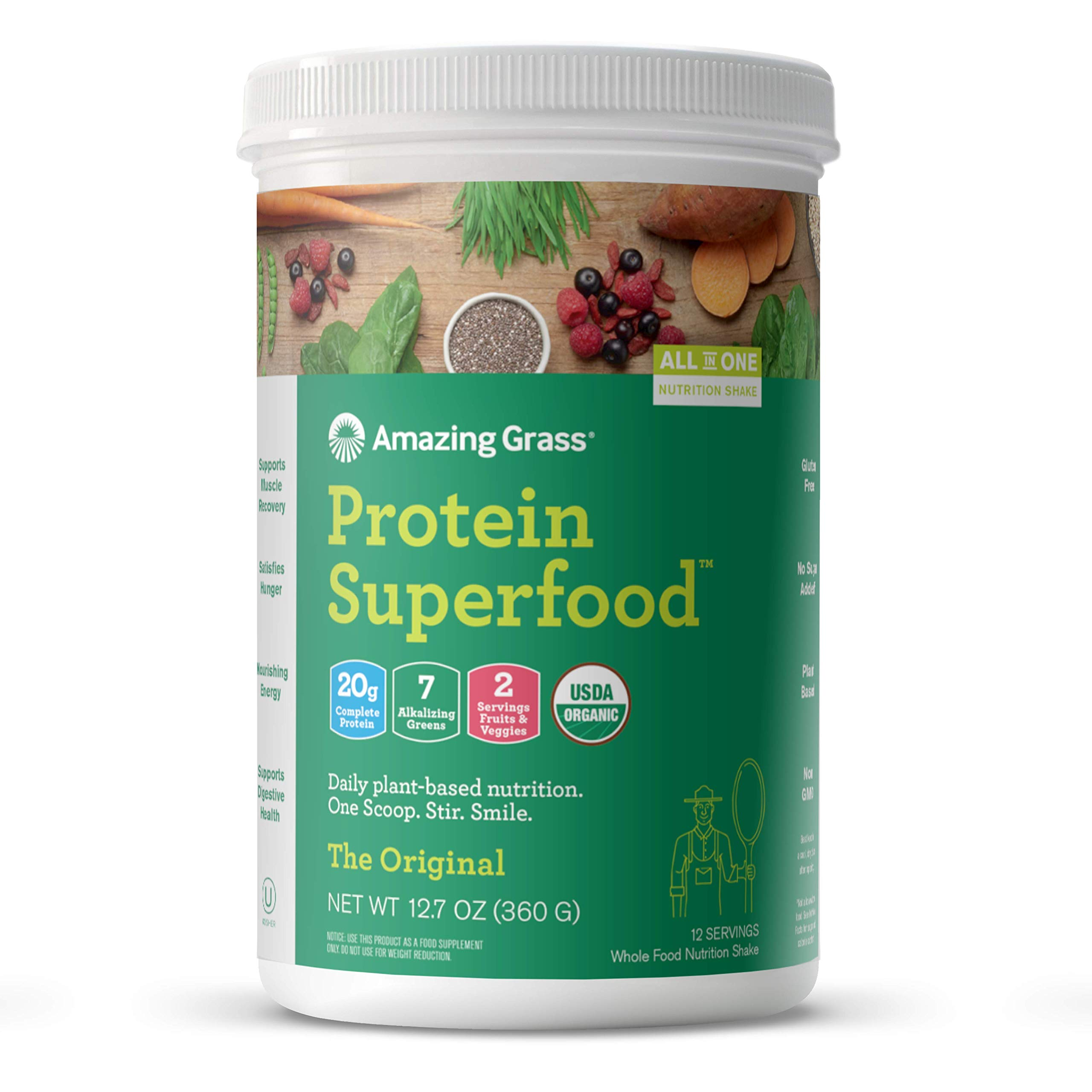 Amazing Grass Protein Superfood: Vegan Protein Powder, All in One Nutrition Shake, Unflavored, 12 Servings