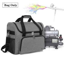 Teamoy Airbrushing Paint System Bag, Carrying Bag Organizer for Airbrush Paint Set, Airbrush Cleaning Kit and Airbrush Compressor Supplies, Gray