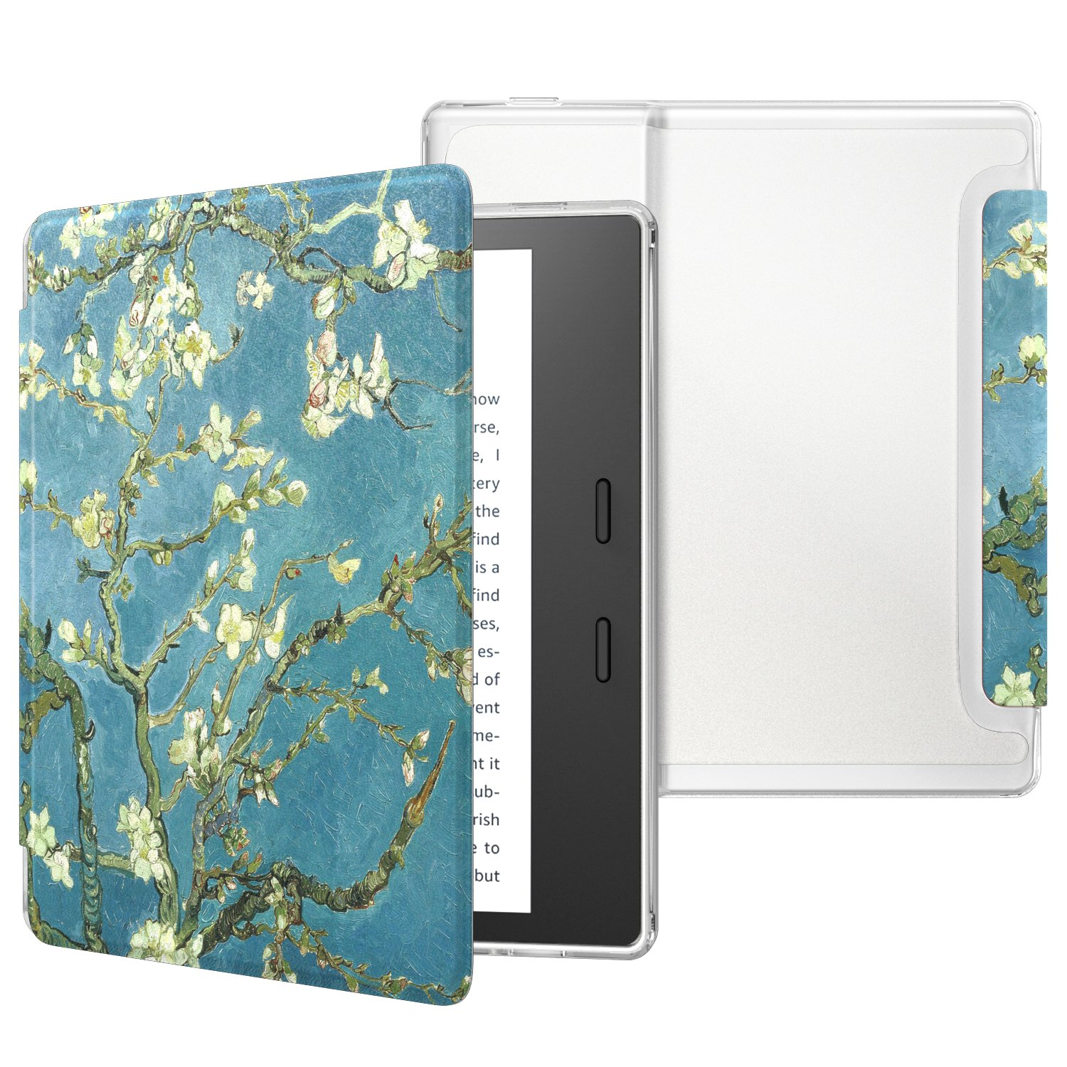 MoKo Case Fits All-New Kindle Oasis (9th and 10th Generation ONLY, 2017 and 2019 Release), Slim Lightweight Cover with Translucent Frosted Back Protector - Almond Blossom