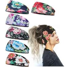 Headbands for Women, Bohemian Style Yoga Elastic Headwraps Head Wrap Hair Band Pack of 7
