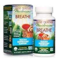 Host Defense, Breathe, 60 Capsules, Respiratory Support, Mushroom Supplement with Cordyceps, Reishi and Chaga, Vegan, Organic, 30 Servings