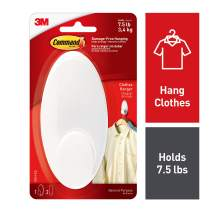 Command Clothes Hanger, 1 hanger, 2 strips, Large, Organize Damage-Free, White (17019-ES)