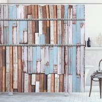 """Ambesonne Rustic Shower Curtain, Nautical Long Wooden Planks Tree Designs on with Rusty Screws Art Print, Cloth Fabric Bathroom Decor Set with Hooks, 70"""" Long, Brown White"""