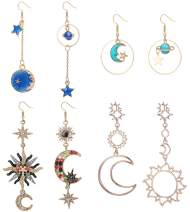 LOYALLOOK 4 Pairs Bohemia Moon and Star Earth Hollow Asymmetric Earrings for Women Crystal Long Drop Dangle Earring Jewelry