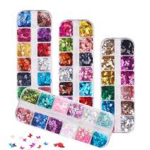 48 Boxes Butterfly Leaf Nail Glitter Sequins, FITDON 3D Laser Nail Art Flakes, Colorful Confetti Sticker Manicure Nail Art Supplies Make Up DIY Decals Decoration