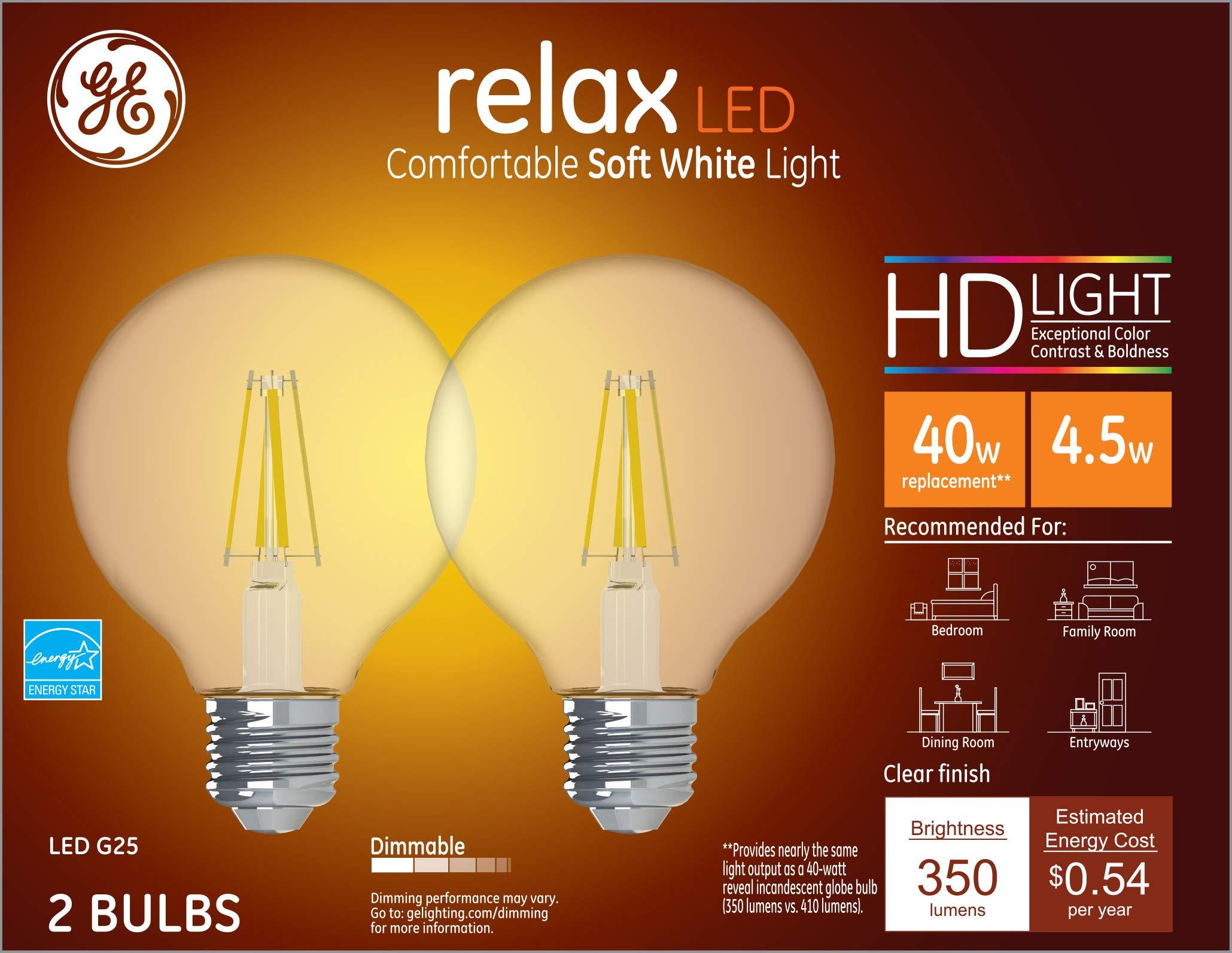 GE Lighting 31536 Clear Finish Light Bulb Relax HD Dimmable LED G25 Decorative Globe 4.5 (40-Watt Replacement), 350-Lumen Medium Base, 2-Pack, Soft White, 2 Count