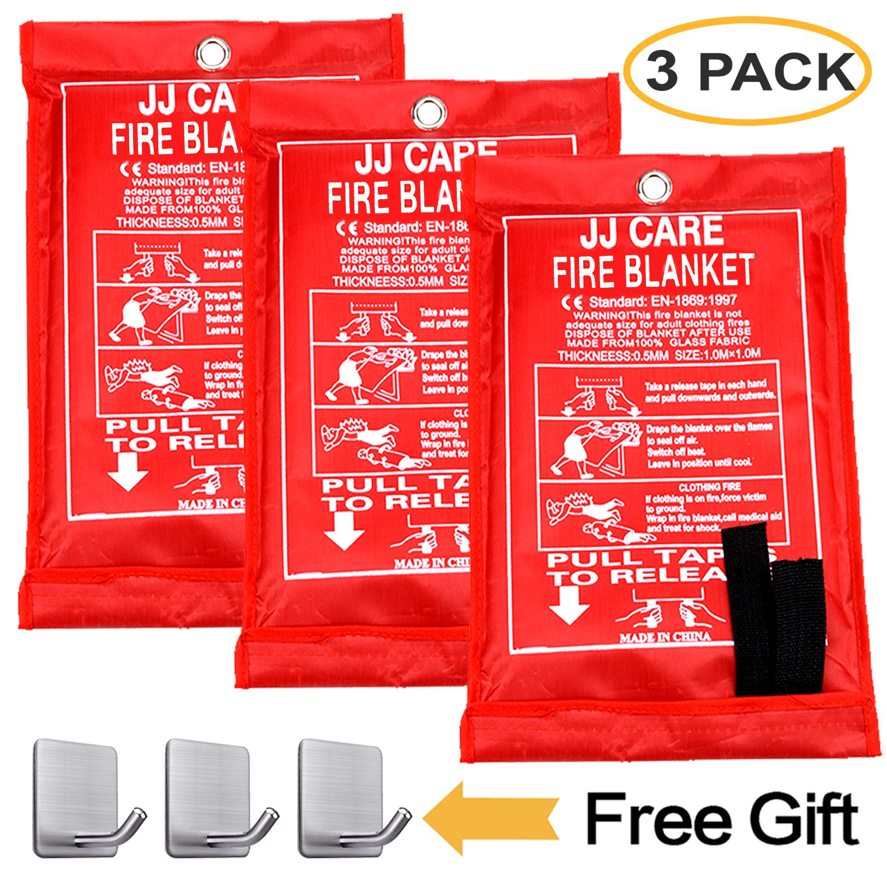 """JJ CARE Fire Blanket (3 Pack) Fire Fighting Suppression Blanket Fiberglass Cloth for Camping, Grilling, Kitchen Safety, Car and Fireplace Fire Retardant Blanket for Emergency 40""""x40"""" with Hooks"""