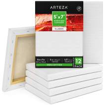 """Arteza 5""""x7"""" Stretched White Blank Canvas, Bulk (Pack of 12), Primed 100% Cotton, for Painting, Acrylic Pouring, Oil Paint & Wet Art Media, Canvases for Professional Artist, Hobby Painters & Beginner"""