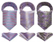 HISDERN Cravat Ascot Tie for Men Wedding Cravat Scarf and Pocket Square 3-Pack Combo