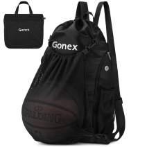 Gonex Basketball Backpack for Boys, Foldable Soccer Backpack Drawstring Gym Bag Sackpack Sports Sack with Detachable Ball Mesh Bag for Volleyball Baseball Gym Yoga, Youth Teens Men Women
