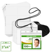 """EcoEarth ID Badge Holder with Lanyard and Paper Kit (Black Lanyards, Clear 3x4"""" Tag Holders, 100 Pack) 3-Piece Set of Plastic Pouch, Lanyard, and Name Card All-in-One"""