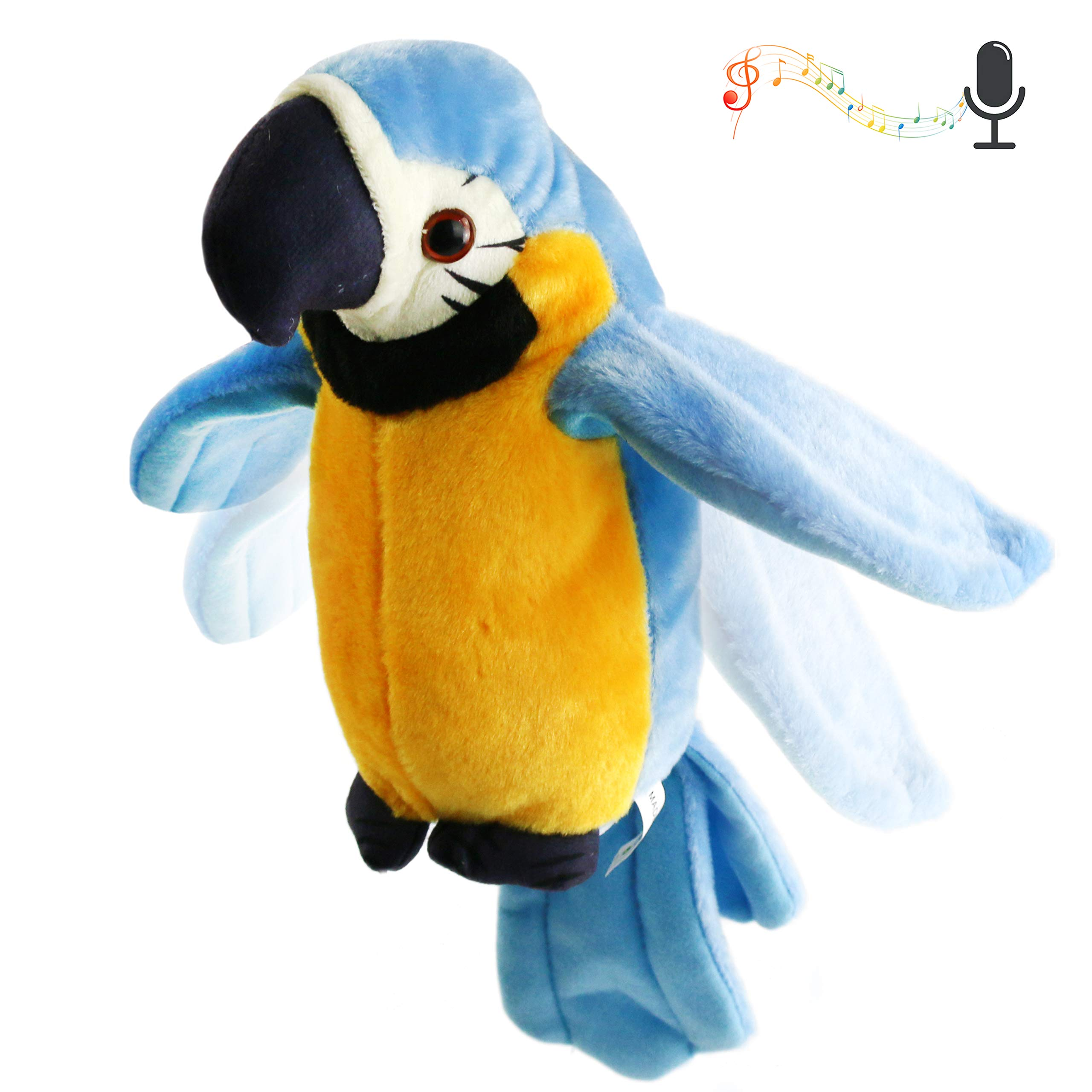Houwsbaby Talking Stuffed Parrot Repeat What You Say Electronic Bird Speaking Pet Waving Wings Plush Toy Interactive Animated Gift for Kids Boys Girls Holiday Birthday Spring, 9'' (Blue)