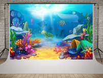 Kate 7x5ft Happy Ocean World Photography Backdrops Blue Undersea Backgrounds Photo for Kids Party Backdrop Shooting Props