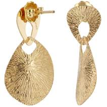 LeoDaniels Yellow Gold Plated 925 Sterling Silver Sunburst Drop Earrings