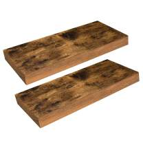 HOOBRO Floating Shelves, Wall Shelf Set of 2, 15.7 inch Hanging Shelf with Invisible Brackets, for Bathroom, Bedroom, Toilet, Kitchen, Office, Living Room Decor, Rustic Brown BF40BJ01