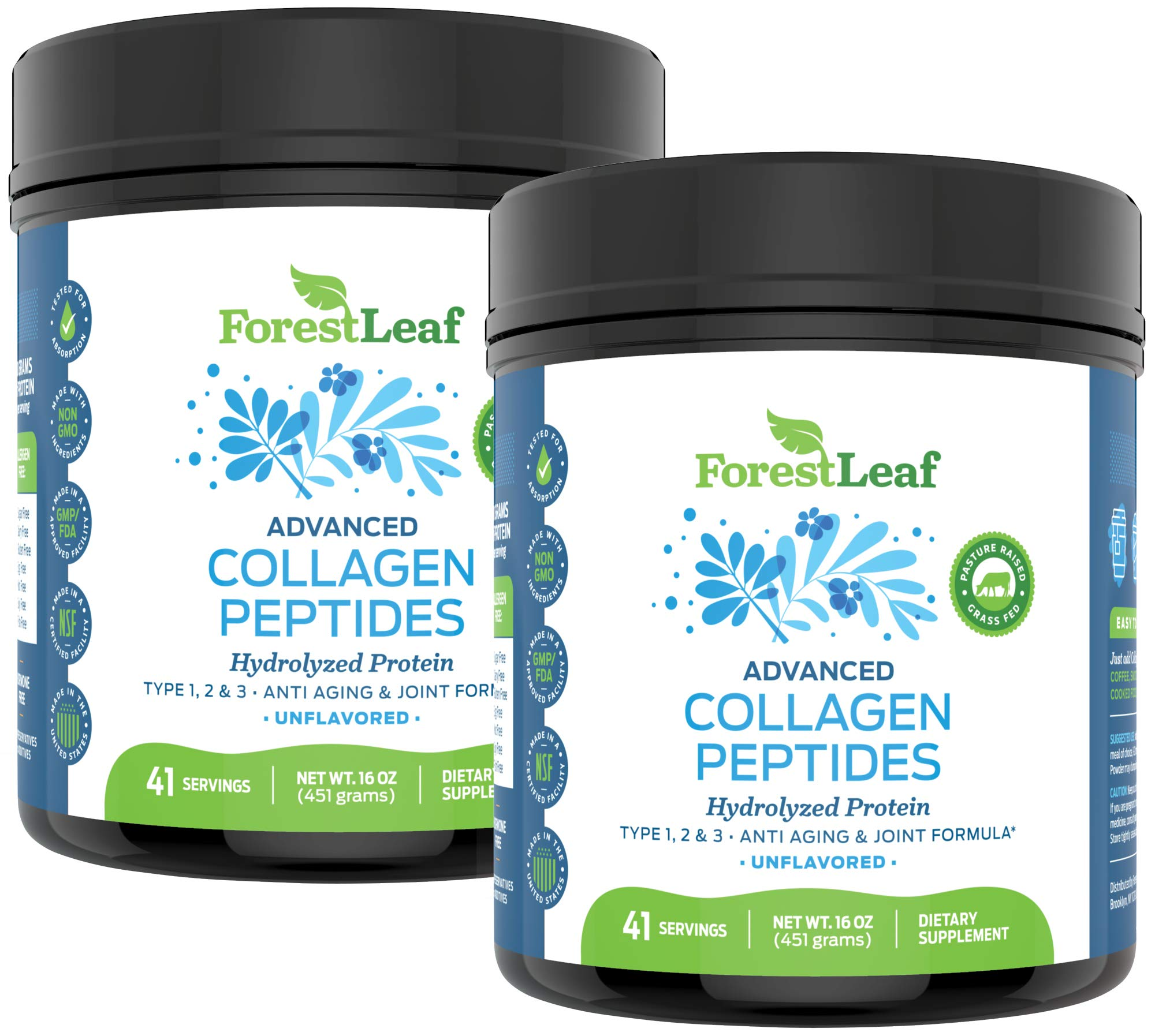 Advanced Hydrolyzed Collagen Peptides – Unflavored Protein Powder - Mixes Into Drinks and Food - Pasture Raised, Grass Fed - for Paleo and Keto; Joints and Bones - 41 Servings - by ForestLeaf