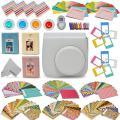 Xtech Fujifilm Instax Mini 9/8 Accessories kit Includes: Smoky White Mini 9 Camera Case, 120 Mini Photo Sticker Frames, 3 Mini Photo Albums, 4 Mini 9/8 Colorful Filters, Large Selfie Mirror + More