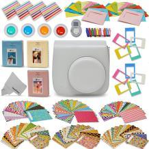Xtech Fujifilm Instax Mini 9/8 Accessories kit Includes: Smoky White Mini 9 Camera Case, 120 Mini Photo Sticker Frames, 3 Mini Photo Albums, 4 Mini 9/8 Colorful Filters, Large Selfie Mirror + More