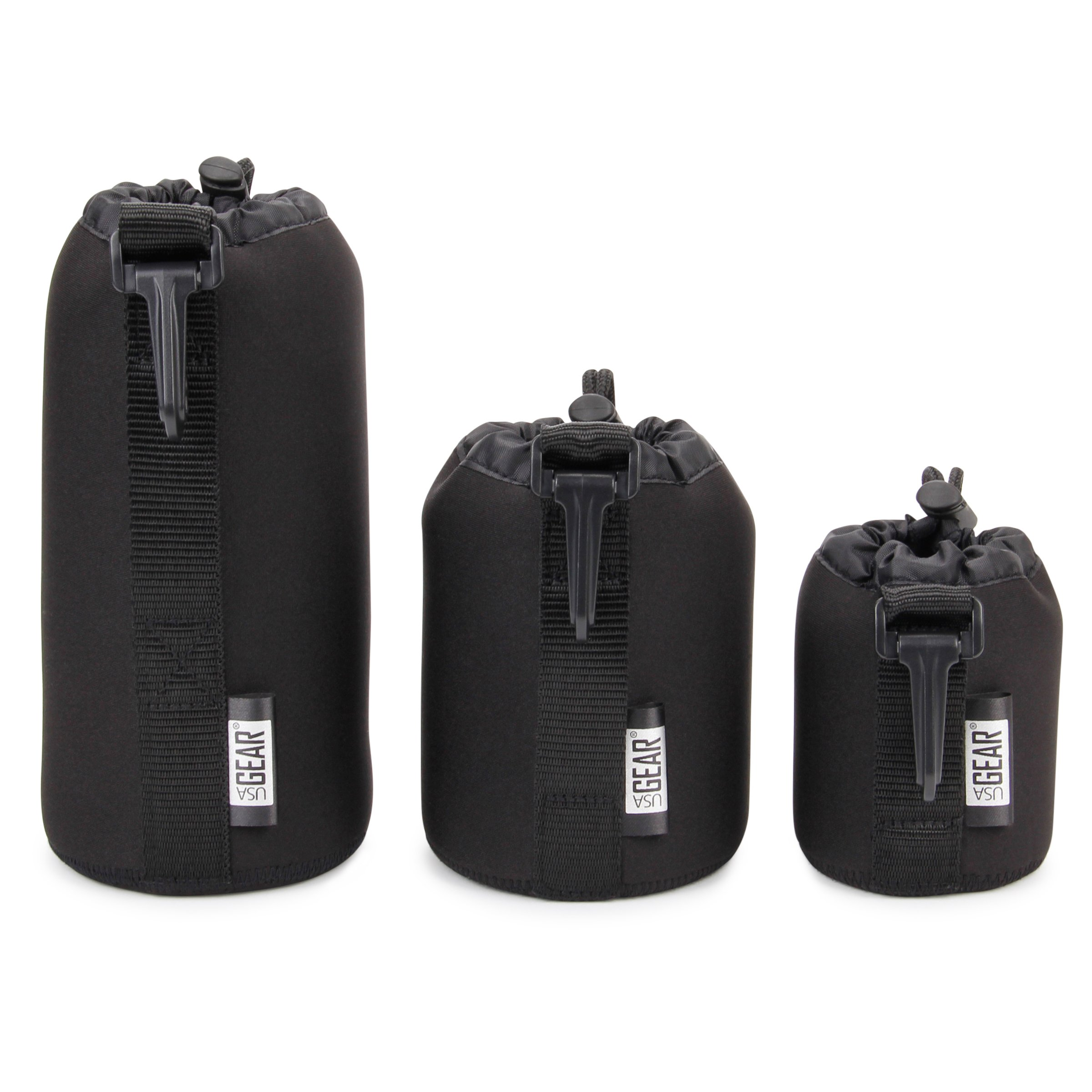 USA GEAR FlexARMOR Protective Neoprene Lens Case Pouch Set 3-Pack (Black) - Small, Medium and Large Cases Hold Lenses up to 70-300mm with Drawstring Opening, Attached Clip, Reinforced Belt Loop