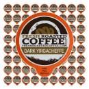 Fresh Roasted Coffee LLC, Dark Ethiopian Yirgacheffe Kochere Coffee Pods, Dark Roast, 72 Count