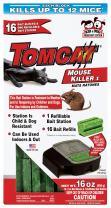 Tomcat Mouse Killer I (Kid and Dog Resistant Refillable Mouse Bait Station, Box w/ 16 Bait Blocks)