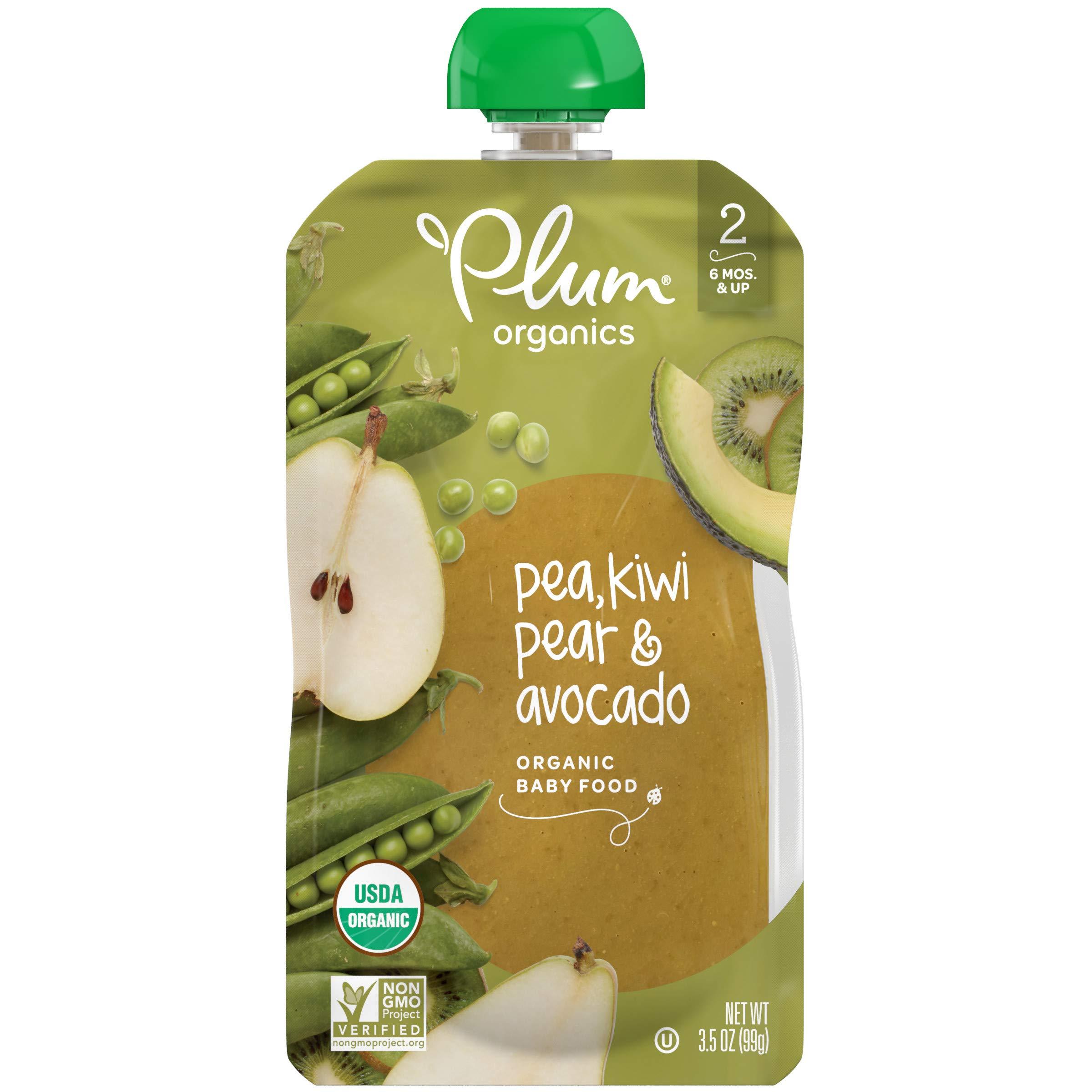 Plum Organics Stage 2, Organic Baby Food, Pea, Kiwi, Pear & Avocado, 3.5 Oz Pouch (Pack of 6)