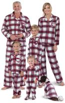 PajamaGram Christmas Pajamas for Family - Fleece Matching Pajamas, Red