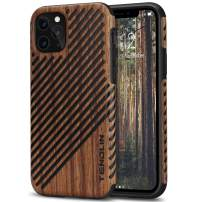 TENDLIN Compatible with iPhone 11 Pro Max Case Wood Grain Outside Design TPU Hybrid Case (Wood & Leather)