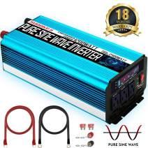SUDOKEJI 1200W Pure Sine Wave Inverter Power Inverter Peak Power 2400W 12V DC to 110V 120V AC with LED Display 3 AC Outlets & USB Port for RV Truck Boat