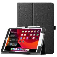 """Fintie Folio Case for New iPad 7th Generation 10.2 Inch 2019 - [Corner Protection] Premium Vegan Leather Smart Stand Back Cover with Pencil Holder, Auto Sleep/Wake for iPad 10.2"""" 2019 Tablet, Black"""