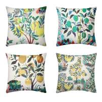 Calvin&Sally Cotton Linen Decorative Throw Pillow Covers Green Leaves Plant Pattern Square Cushion Cover Set of 4 Home Decor Pillowcases 18 x 18 Inch(Tree Pattern)