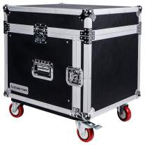 Sound Town 8U PA DJ Rack/Road Case with 11U Slant Mixer Top, 20'' Rackable Depth and Casters, 8-Space ATA Case (STMR-8UWS)