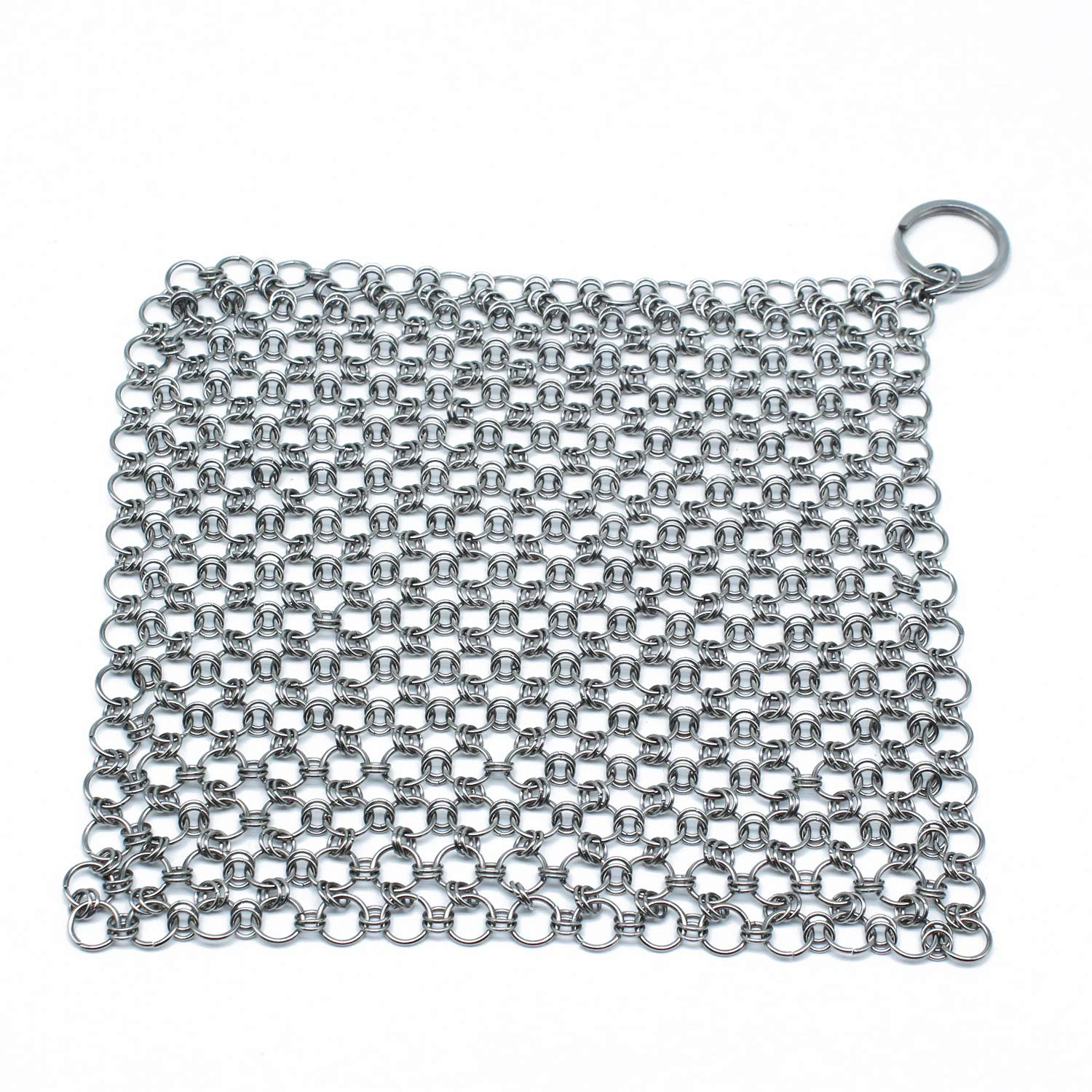 """5""""x5"""" Stainless Steel 316L Cast Iron Cleaner Chainmail Scrubber for Cast Iron Pan Pre-Seasoned Pan Dutch Ovens Waffle Iron Pans Scraper Cast Iron Grill Scraper Skillet Scraper"""