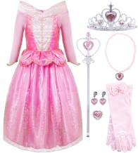 FUNNA Sleeping Princess Costume for Beauty Girls Dress up Pink with Accessories