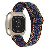 Joyozy Scrunchie Stretchy Loop Strap Compatible with Fitbit Versa 3&Fitbit Sense,Adjustable Soft Elastic Stretch Strap Wristband Bracelet for Women Girls 5#